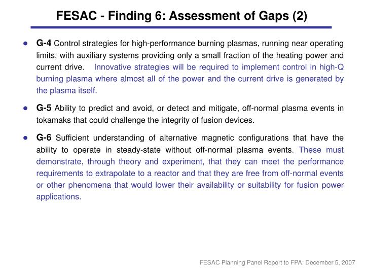 FESAC - Finding 6: Assessment of Gaps (2)