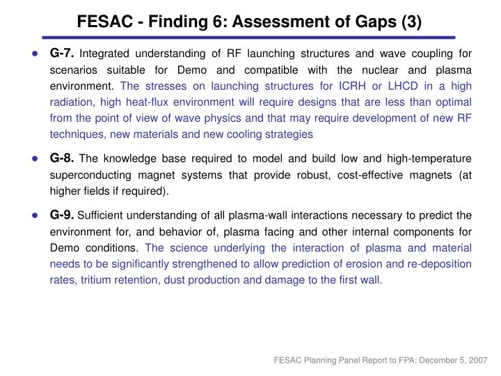 FESAC - Finding 6: Assessment of Gaps (3)