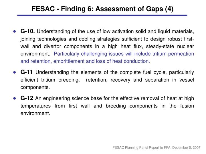 FESAC - Finding 6: Assessment of Gaps (4)