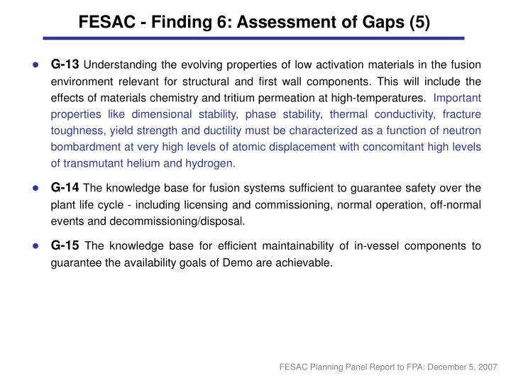 FESAC - Finding 6: Assessment of Gaps (5)