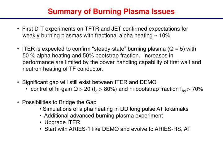 Summary of Burning Plasma Issues