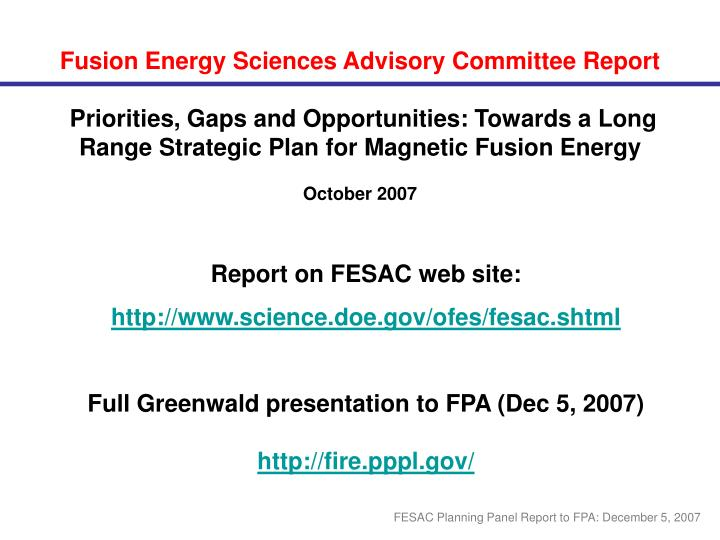 Fusion Energy Sciences Advisory Committee Report
