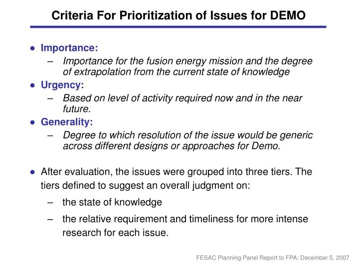 Criteria For Prioritization of Issues for DEMO