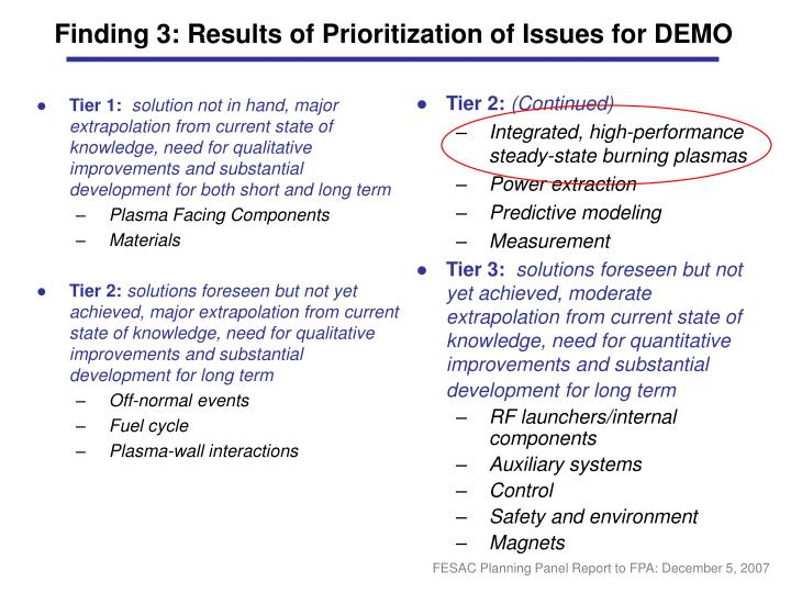 Finding 3: Results of Prioritization of Issues for DEMO