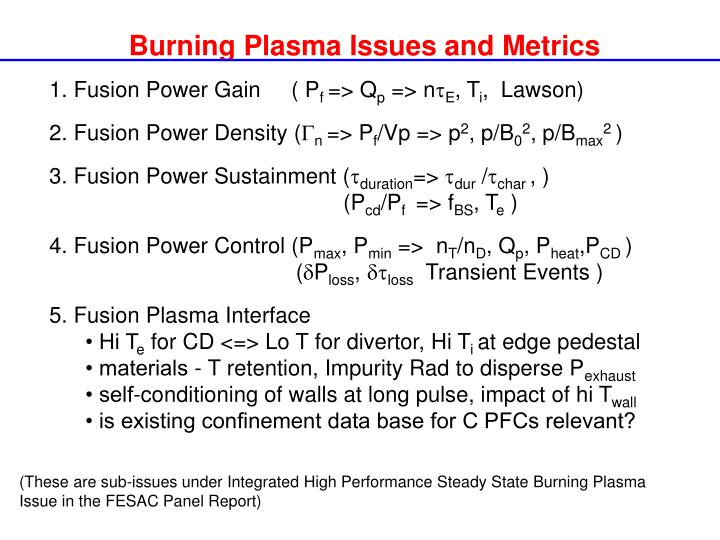 Burning Plasma Issues and Metrics