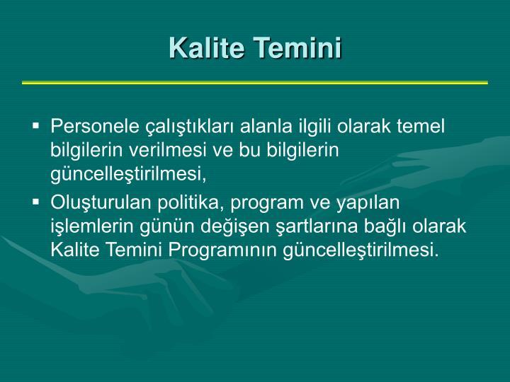 Kalite Temini