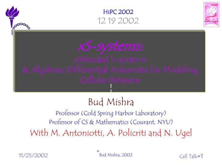 Xs systems extended s systems algebraic differential automata for modeling cellular behavior