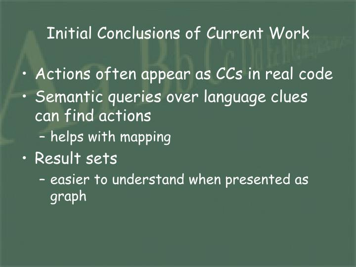 Initial Conclusions of Current Work