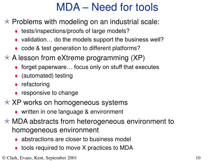 MDA – Need for tools