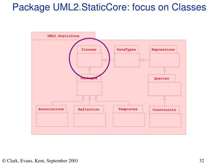 Package UML2.StaticCore: focus on Classes