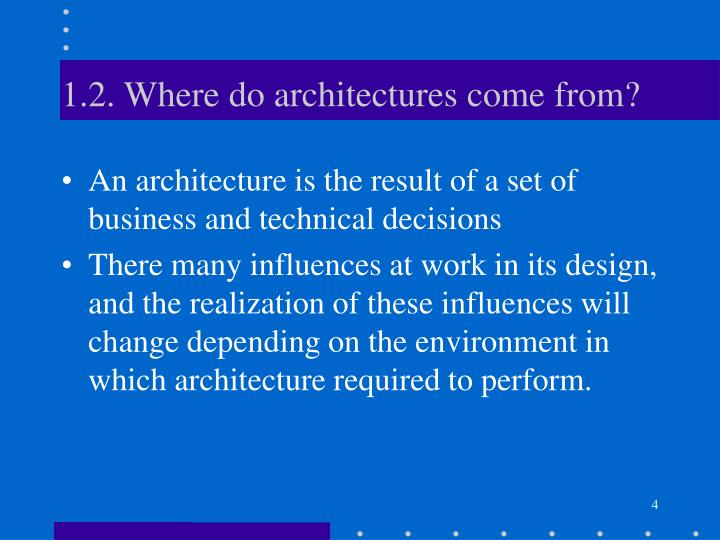 1.2. Where do architectures come from?
