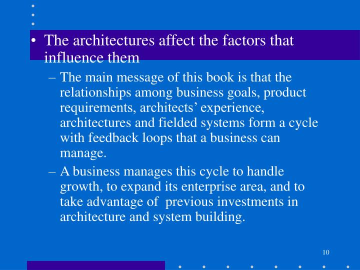 The architectures affect the factors that influence them