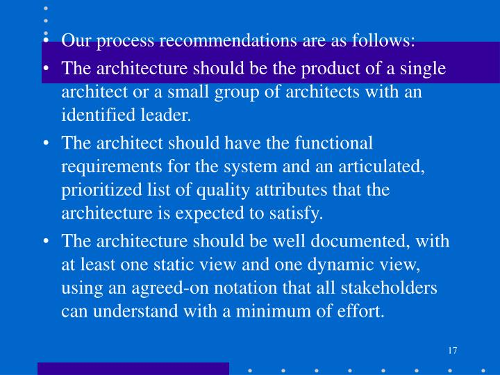 Our process recommendations are as follows: