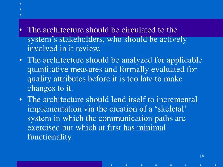 The architecture should be circulated to the system's stakeholders, who should be actively involved in it review.