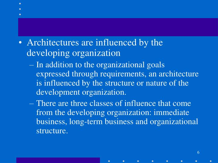 Architectures are influenced by the developing organization