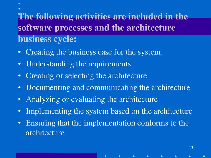 The following activities are included in the software processes and the architecture business cycle: