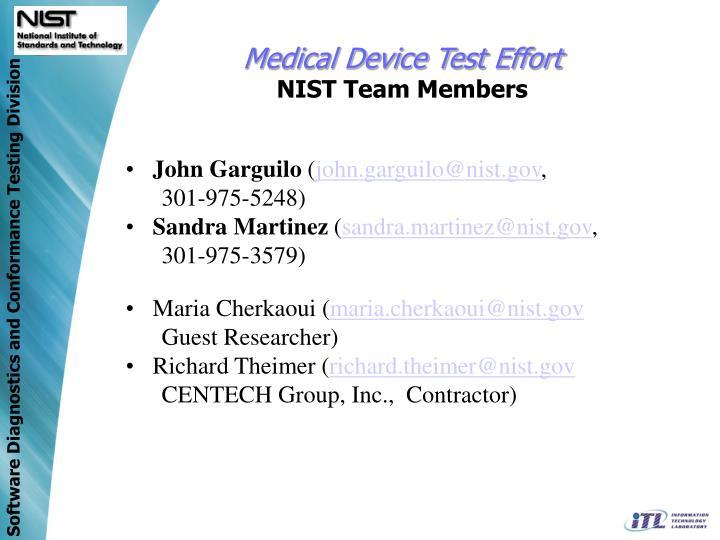 Medical Device Test Effort