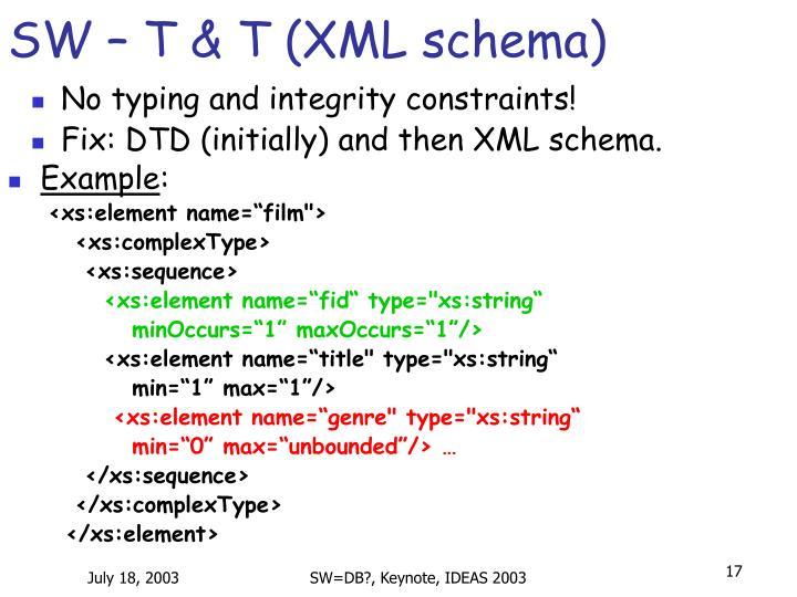 SW – T & T (XML schema)