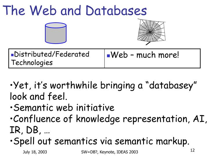 The Web and Databases