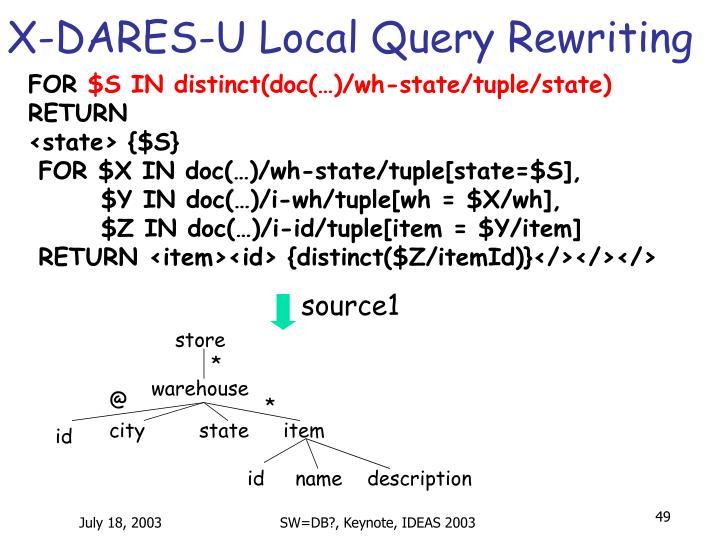X-DARES-U Local Query Rewriting