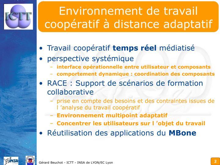 Environnement de travail coopératif à distance adaptatif