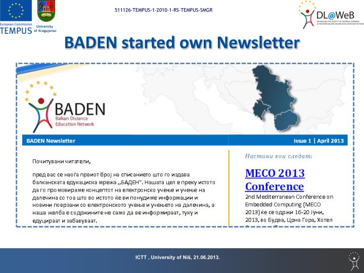 BADEN started own Newsletter