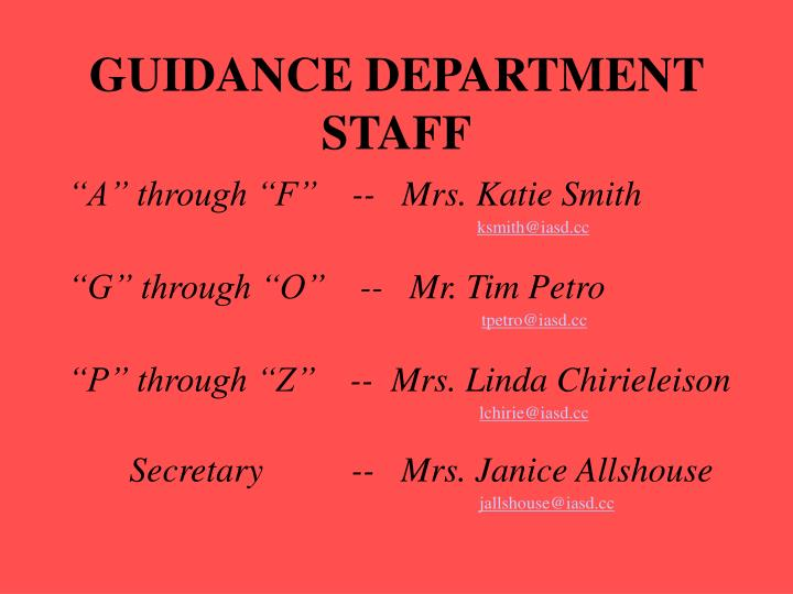 GUIDANCE DEPARTMENT STAFF