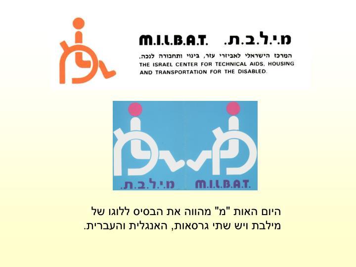 """היום האות """"מ"""" מהווה את הבסיס ללוגו של מילבת ויש שתי גרסאות, האנגלית והעברית"""