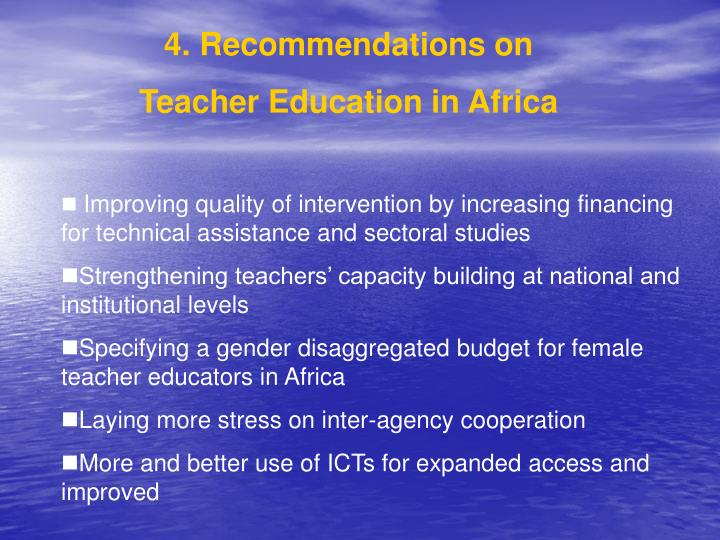 4. Recommendations on