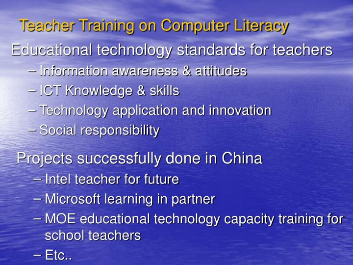 Teacher Training on Computer Literacy