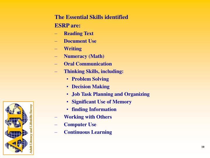 The Essential Skills identified