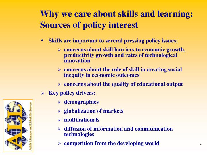 Why we care about skills and learning: