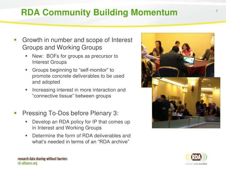 RDA Community Building Momentum