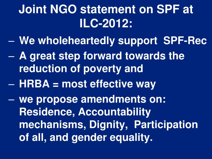 Joint NGO statement on SPF at ILC-2012: