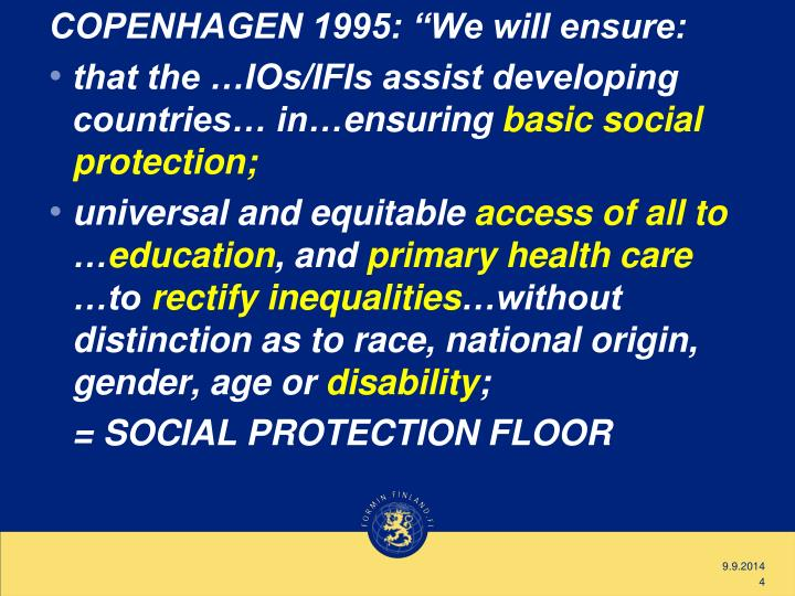 "COPENHAGEN 1995: ""We will ensure:"
