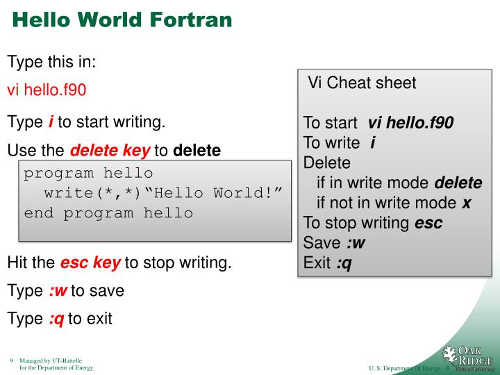 Hello World Fortran