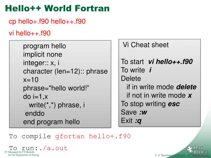 Hello++ World Fortran