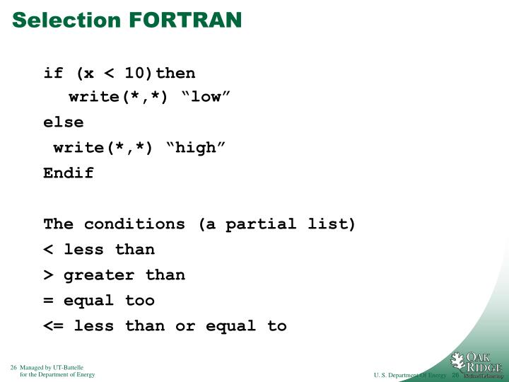Selection FORTRAN