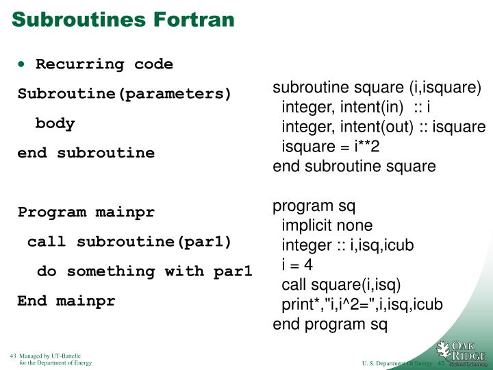 Subroutines Fortran
