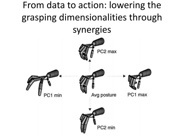 From data to action: lowering the grasping dimensionalities through synergies