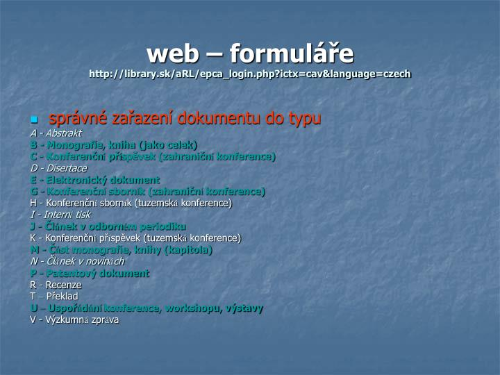 web – formuláře