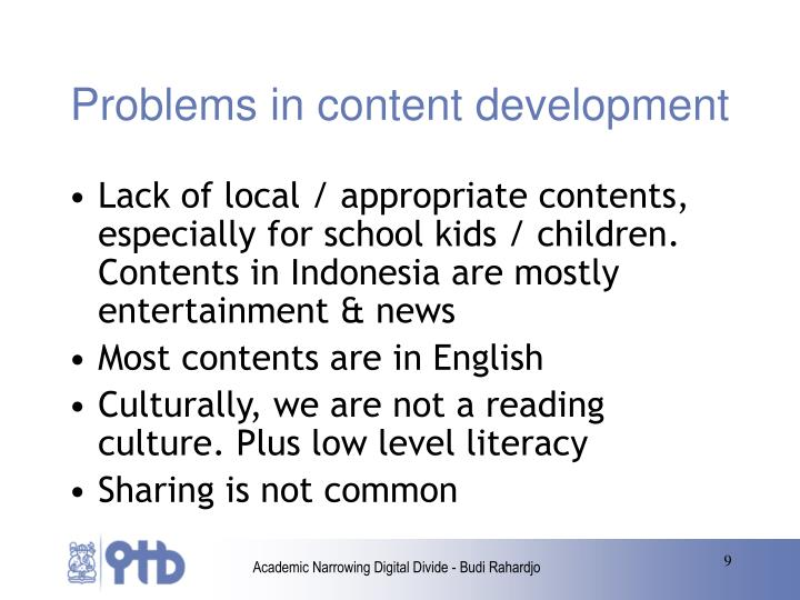Problems in content development