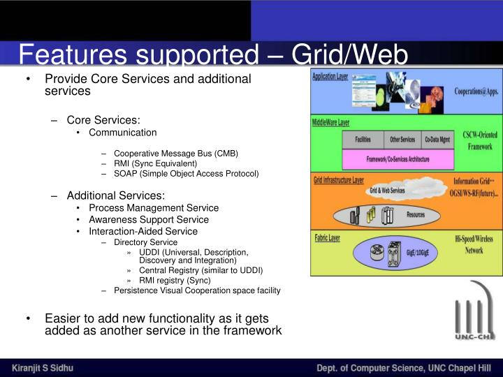 Features supported – Grid/Web