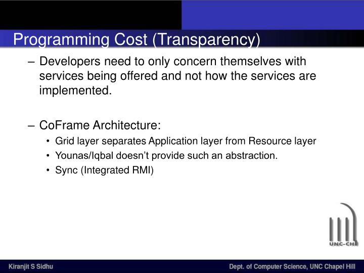 Programming Cost (Transparency)