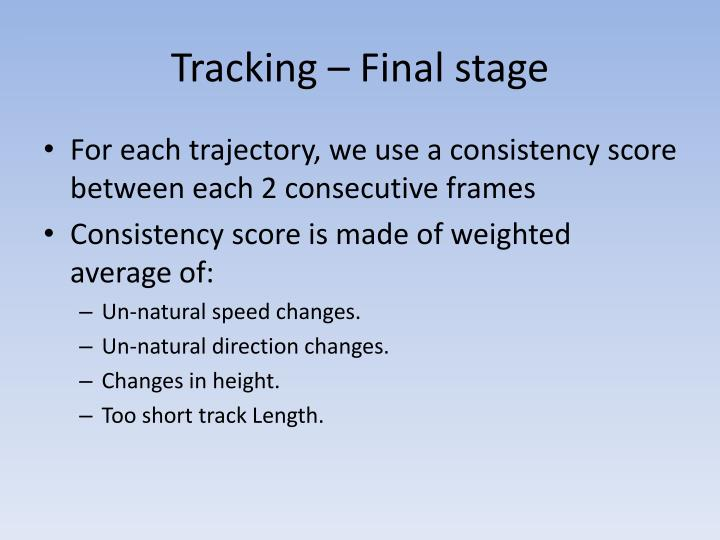 Tracking – Final stage