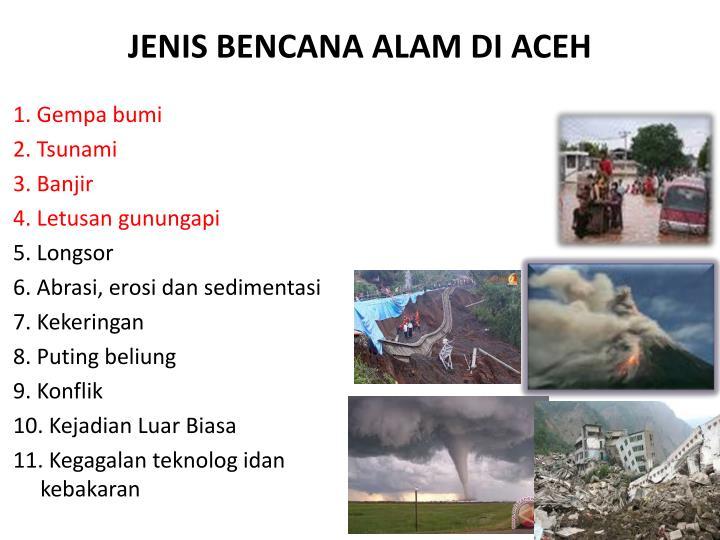 JENIS BENCANA ALAM DI ACEH