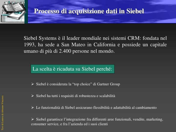 La scelta è ricaduta su Siebel perché: