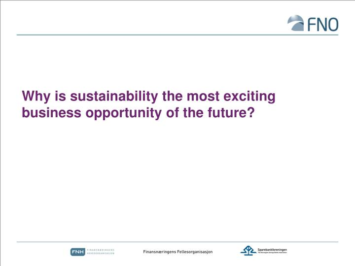 Why is sustainability the most exciting business opportunity of the future?