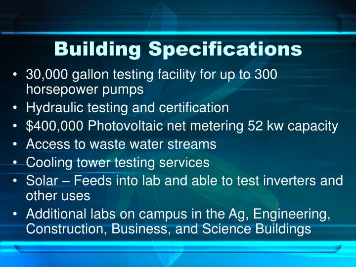 Building Specifications