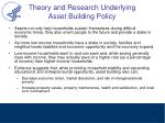 theory and research underlying asset building policy